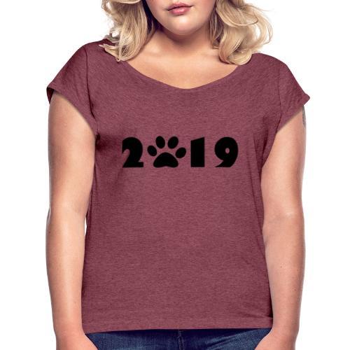 2019 - T-shirt à manches retroussées Femme