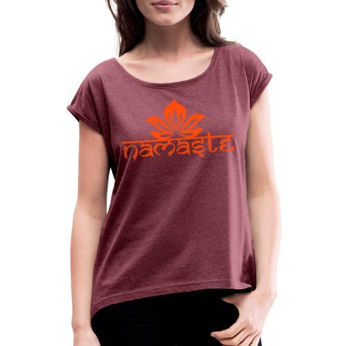 Namaste Lotus Yoga Motiv in Trendfarben MEGA - Frauen T-Shirt mit gerollten Ärmeln