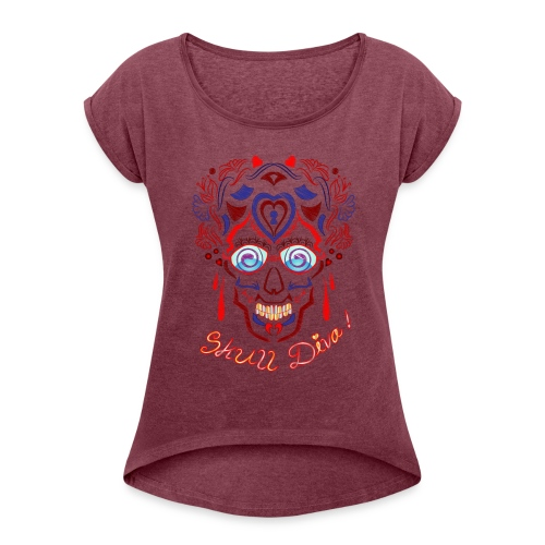 Skull Tattoo Art - Women's T-Shirt with rolled up sleeves