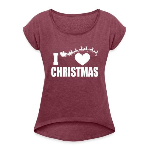 I Love Christmas Heart Natale - Maglietta da donna con risvolti