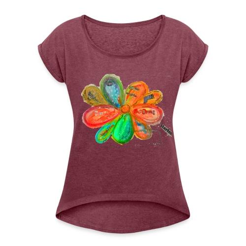 Ökonomie der Verbundenheit - Fraktale - Frauen T-Shirt mit gerollten Ärmeln