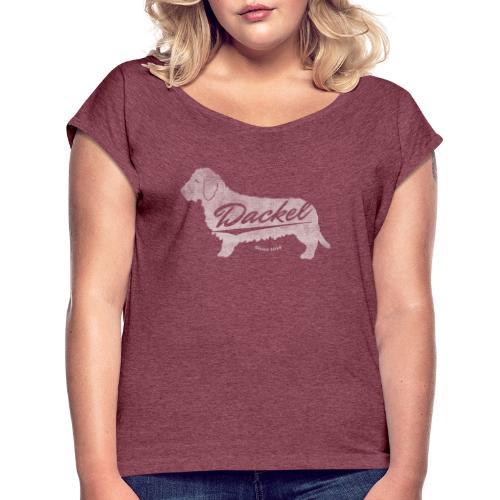 Dackel since 2014 Vintage Design Geschenkidee - Frauen T-Shirt mit gerollten Ärmeln