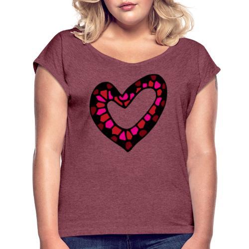 Herz Mosaik Buntglas - Frauen T-Shirt mit gerollten Ärmeln