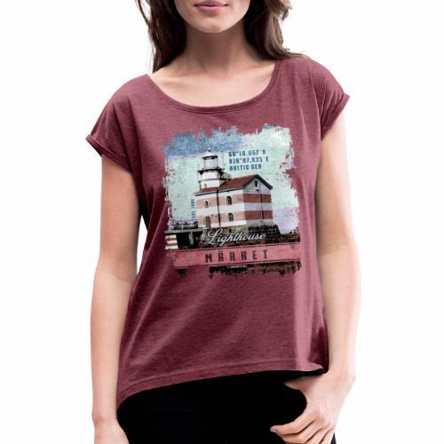 Märket majakkatuotteet, Finland Lighthouse, väri - Naisten T-paita, jossa rullatut hihat