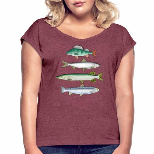 FOUR FISH - Ahven, siika, hauki ja taimen tuotteet - Naisten T-paita, jossa rullatut hihat