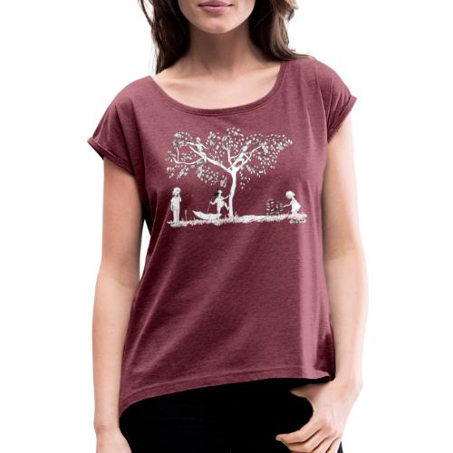 Cerezo - Camiseta con manga enrollada mujer