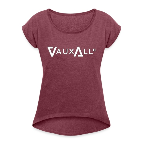 VauxAll Logo | White | Original - Women's T-Shirt with rolled up sleeves