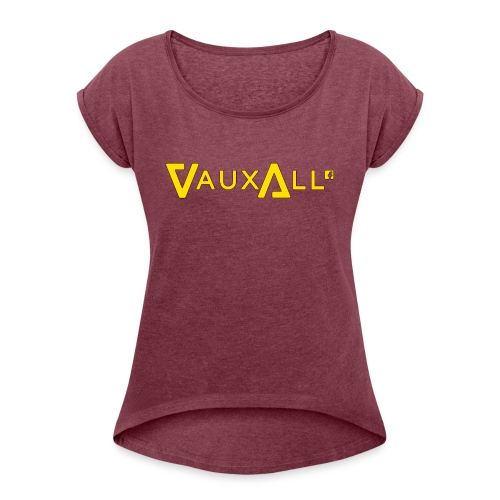 VauxAll Logo | Yellow | Original - Women's T-Shirt with rolled up sleeves