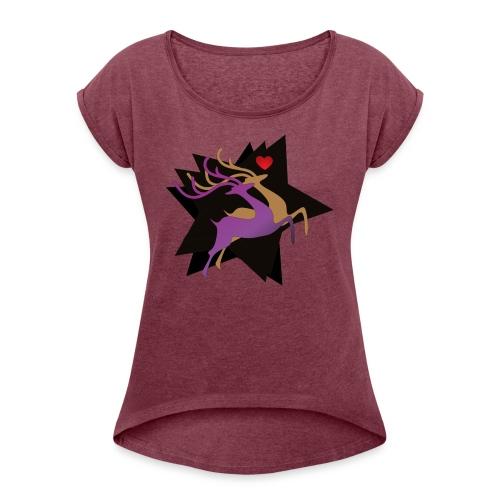 Couple Deer - Frauen T-Shirt mit gerollten Ärmeln