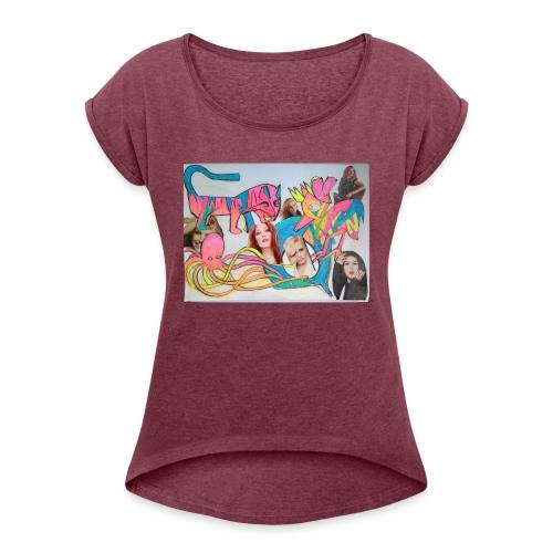 Steetart Tiger Zoobesuch - Frauen T-Shirt mit gerollten Ärmeln
