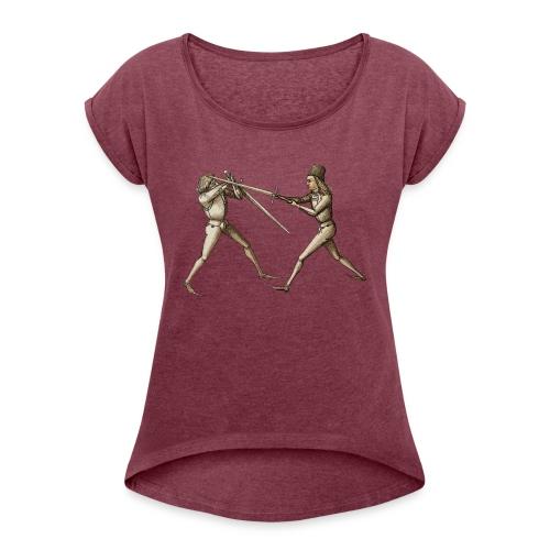 Talhoferfechter frei - Frauen T-Shirt mit gerollten Ärmeln