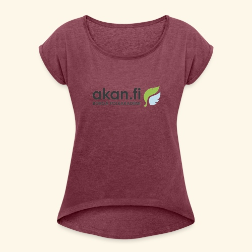 Akan Black - T-shirt med upprullade ärmar dam