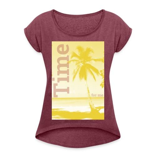 BEACH - Frauen T-Shirt mit gerollten Ärmeln