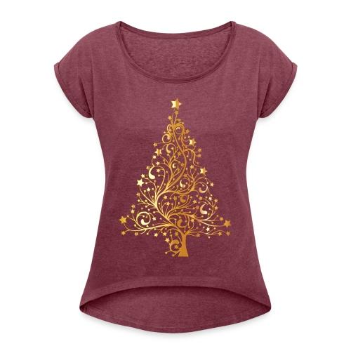 T-shirty Boże Narodzenie - Piękna choinka - Koszulka damska z lekko podwiniętymi rękawami