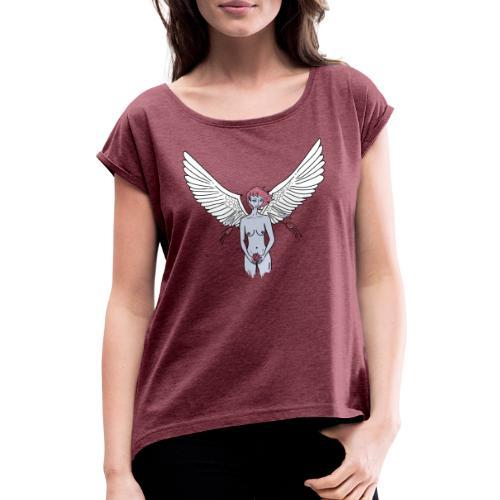 MusaFreeBlue - Camiseta con manga enrollada mujer