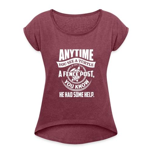 Turtle - T-skjorte med rulleermer for kvinner