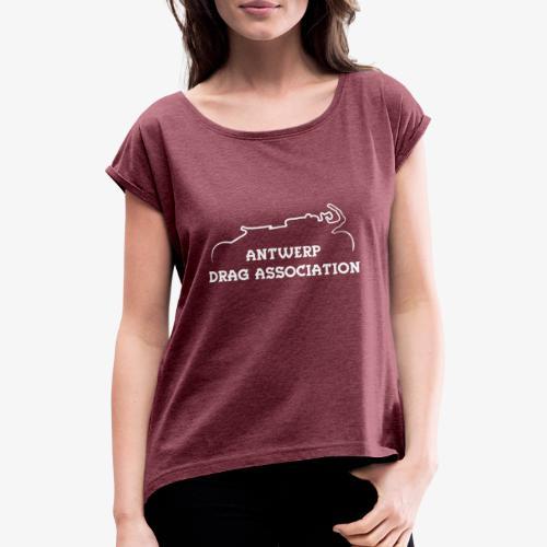 ADA DRAG Logo Petit Blanc - T-shirt à manches retroussées Femme