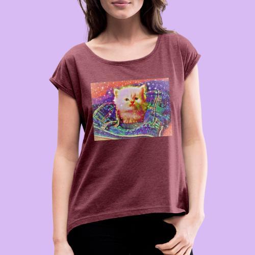 Gattino scintillante nella tasca dei jeans - Maglietta da donna con risvolti