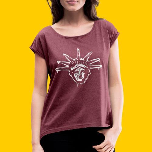 Freedoom - T-shirt med upprullade ärmar dam