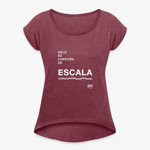 escala - Camiseta con manga enrollada mujer