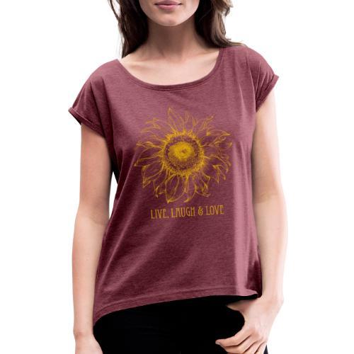 Sonnenblume Zeichnung - Frauen T-Shirt mit gerollten Ärmeln