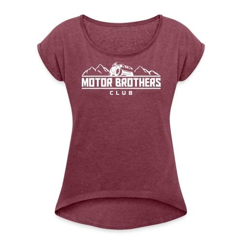 mb_club_white - Frauen T-Shirt mit gerollten Ärmeln