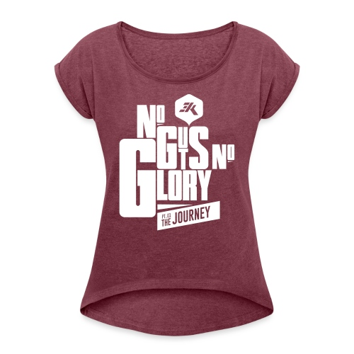 NGNG: WHITE / Red - Women's T-Shirt with rolled up sleeves