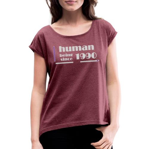 1990 Anniversary Light Gray - Women's T-Shirt with rolled up sleeves