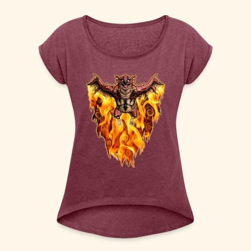 FATALOS - T-shirt med upprullade ärmar dam