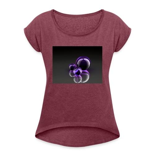 Purple Balls - Frauen T-Shirt mit gerollten Ärmeln