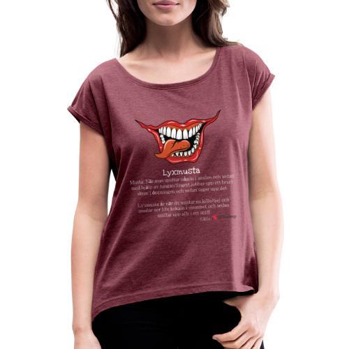 Lyxmusta - T-shirt med upprullade ärmar dam