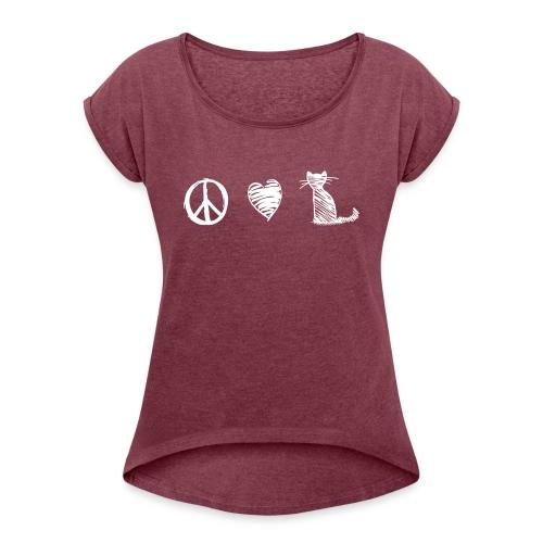 Vorschau: peace love cats - Frauen T-Shirt mit gerollten Ärmeln