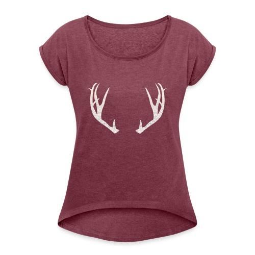 Jäiset poronsarvet - Naisten T-paita, jossa rullatut hihat