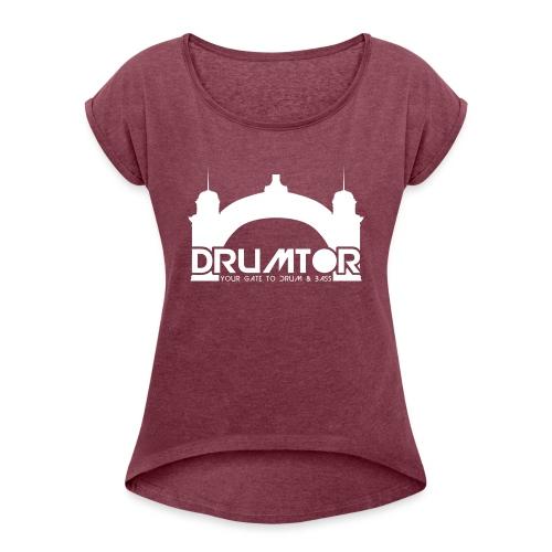 drumtor logo frei bw - Frauen T-Shirt mit gerollten Ärmeln