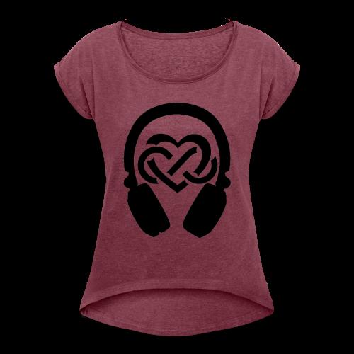 Liefde voor muziek - Vrouwen T-shirt met opgerolde mouwen