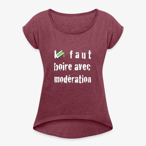 test t shirt FACE BLANC - T-shirt à manches retroussées Femme