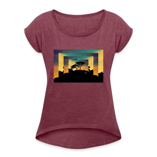 Natur Africa - Frauen T-Shirt mit gerollten Ärmeln