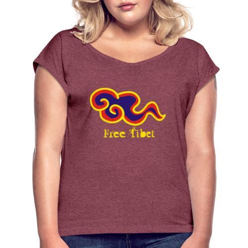 Free Tibet - Camiseta con manga enrollada mujer