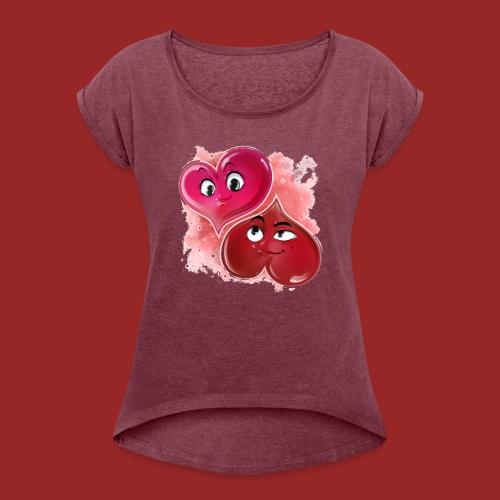 Herzchen - Frauen T-Shirt mit gerollten Ärmeln