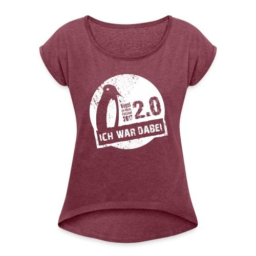 Logo 1 weiss - Frauen T-Shirt mit gerollten Ärmeln