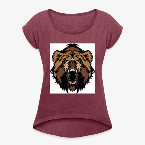 oso grizzly mascota cabeza vectorial - Camiseta con manga enrollada mujer
