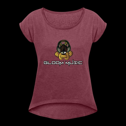 GLOOM MUSIC LOGO COLOR - Women's T-Shirt with rolled up sleeves