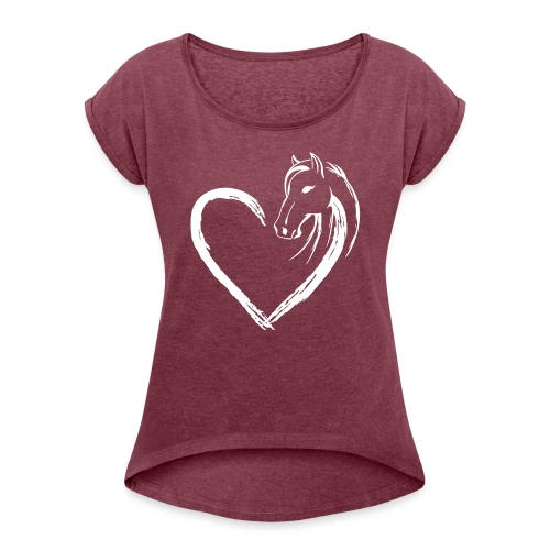 Vorschau: Pferde Herz - Frauen T-Shirt mit gerollten Ärmeln