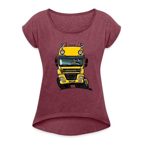 0810 D truck CF geel - Vrouwen T-shirt met opgerolde mouwen