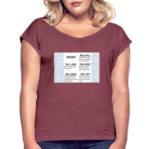Papertune - T-shirt med upprullade ärmar dam
