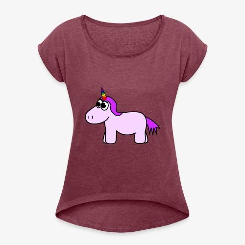 niedliches Einhorn - Frauen T-Shirt mit gerollten Ärmeln