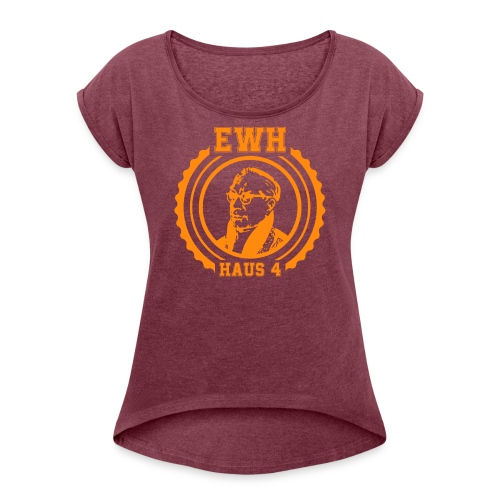 Egon Logo Orange - Frauen T-Shirt mit gerollten Ärmeln
