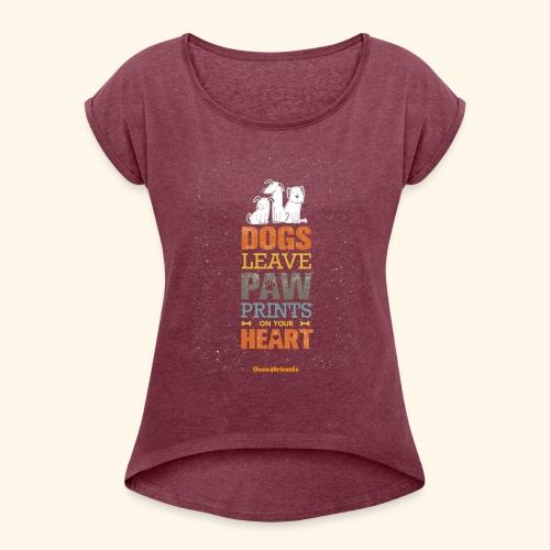 PAWPRINTONHEART - Maglietta da donna con risvolti