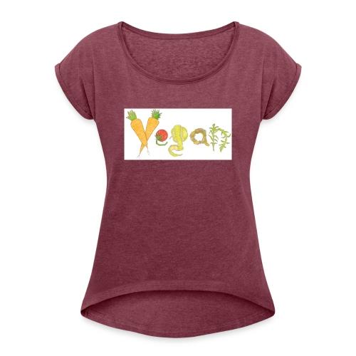 vegan - Camiseta con manga enrollada mujer