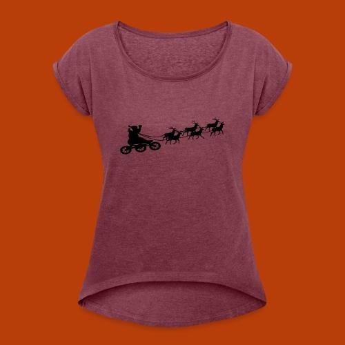 Ho Hoo Weihnachts Rentier Skate - Frauen T-Shirt mit gerollten Ärmeln
